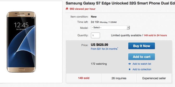 [Deal Alert] Get A New Unlocked International Samsung Galaxy S7 Edge For $629 ($150 Off) On eBay