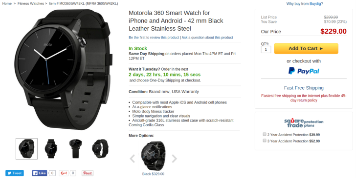 [Update: Sold Out]  Deal Alert: Black 42mm Moto 360 Second Generation With Black Leather Strap On Sale For $229 - Lowest Price Yet