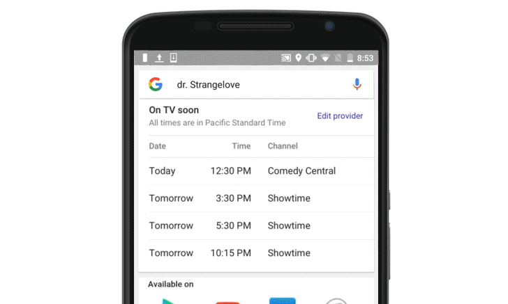 Google Search Results Will Soon Display Live TV Listings
