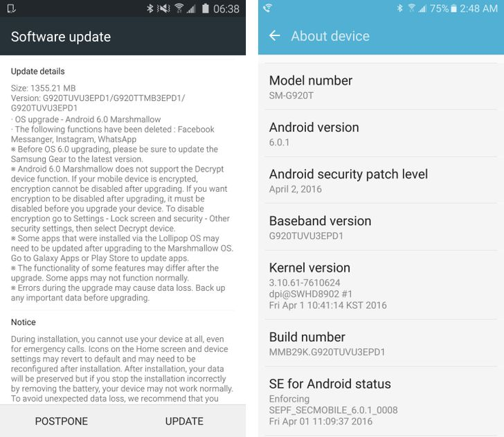 The T-Mobile Galaxy S6 And S6 Edge Are Getting Android 6.0.1 Marshmallow Today