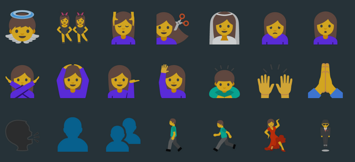 Comparison: New Human Emojis From Android N Dev Preview 2 VS Old Yellow Blob Emojis