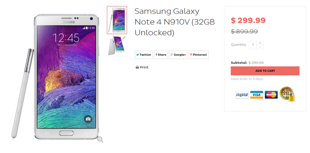[Deal Alert] Both eBay And DailySteals Offer An Unlocked Verizon Galaxy Note 4 For $299.99 ($400 Off Original Retail Price)