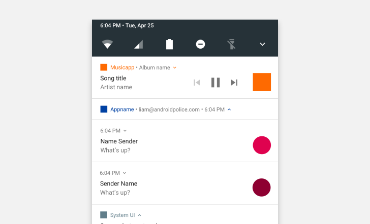 Download: Android N Notification Sticker Sheet (For Sketch) To Quickly Mock Up Notifications
