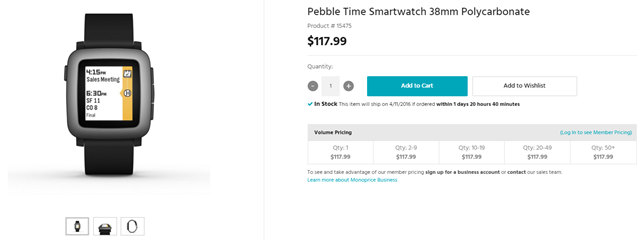 [Deal Alert] Monoprice Has The Pebble Time Smartwatch For Under $100 (Plus Tax And Shipping) After Coupon