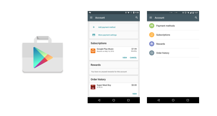 Google Updates Play Store Accounts Screen With A New Design