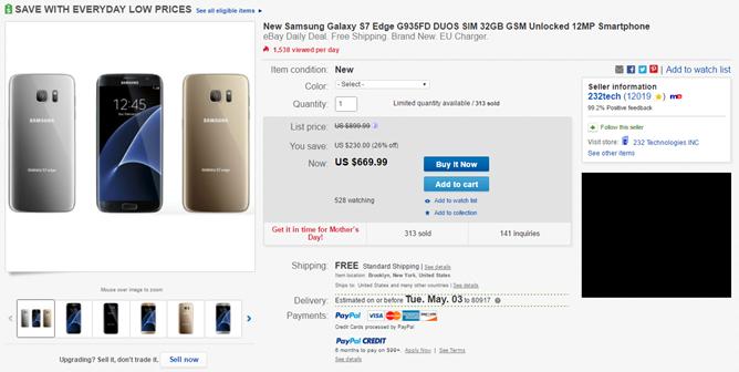 [Deal Alert] eBay Has A Galaxy S7 Edge Duos (Dual SIM) For $670 - $130 Off Retail