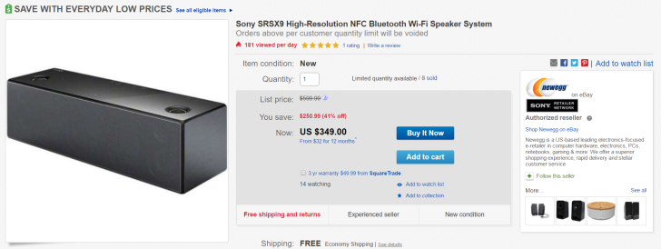 [Deal Alert] Sony's Top Of The Line Bluetooth/Wifi Speaker From 2014, The SRSX9, On Sale For $350 On eBay ($250 Off)