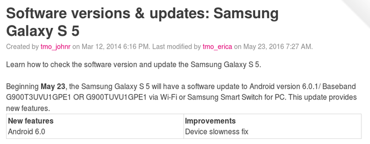 T-Mobile Galaxy S5 Receives Android Marshmallow OTA Update