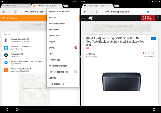 Android N Developer Preview 3 Allows Side By Side Chrome Windows In Multi-Window Mode