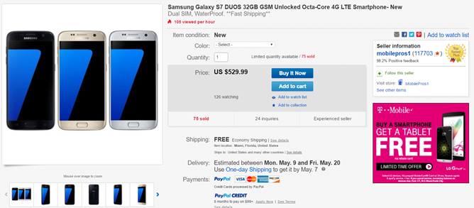 [Update: Deal Is Back] Deal Alert: eBay Offers The Galaxy S7 Duos (Dual SIM) For $529.99, $170 Off Retail