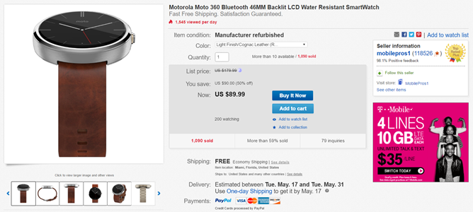 [Deal Alert] Several Original Moto 360 Models (Refurbished) Available For $90 With Free Shipping On eBay