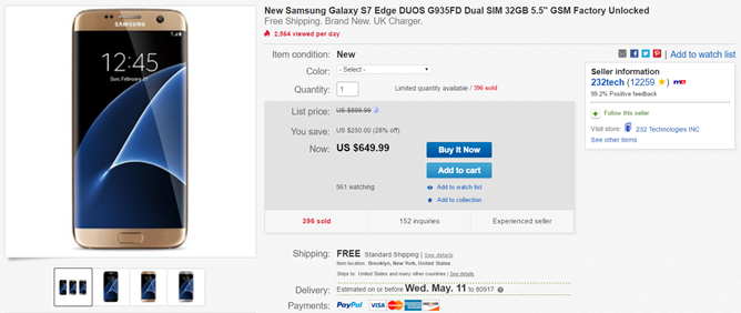 Deal Alert Ebay Has A Galaxy S7 Edge Duos For 650 150 Off Retail