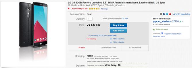 Deal Alert] eBay Has A New Unlocked LG G4 (Black Leather