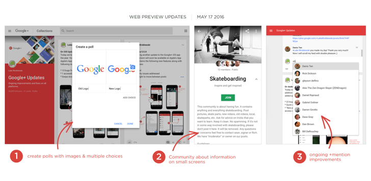 Google+ Web Preview Update Improves Mentions And Adds Polls