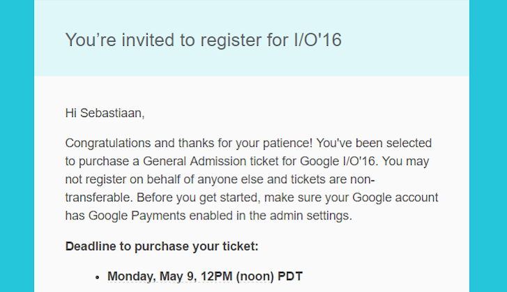 Google Is Still Sending Waves Of I/O Invites To Some Lucky Applicants