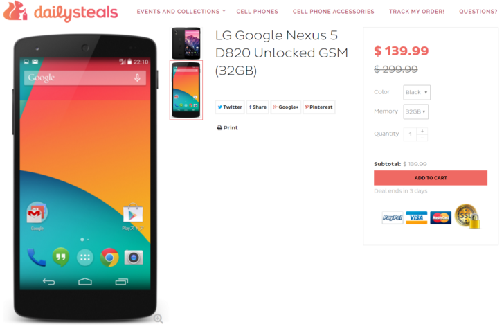 [Deal Alert] $140 Will Buy You A Refurbished 32GB Nexus 5 (D820) Today On Daily Steals