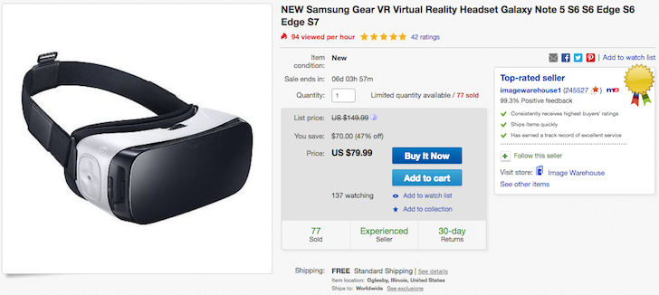 [Deal Alert] Get The Samsung Gear VR For $79.99 On eBay, 20% Off Its Retail Price