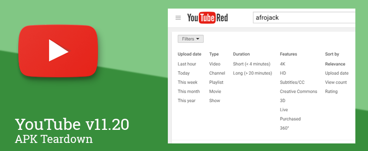 YouTube v11.20 Prepares To Add Sort Options To The Search Filters [APK Teardown]