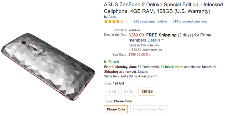 [Deal Alert] Asus ZenFone 2 Deluxe Special Edition On Sale For $269 ($130 Off) In Today's Amazon Goldbox
