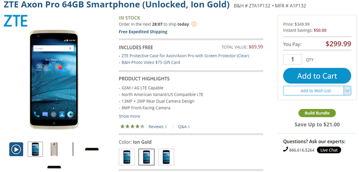 [Deal Alert] ZTE Axon Pro on sale for $299.99 with free $75 B&H gift card and clear case
