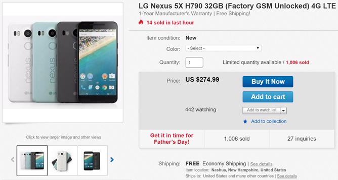 [Nexus Deal Alert] Get A 32GB Nexus 5X For $274.99 On eBay