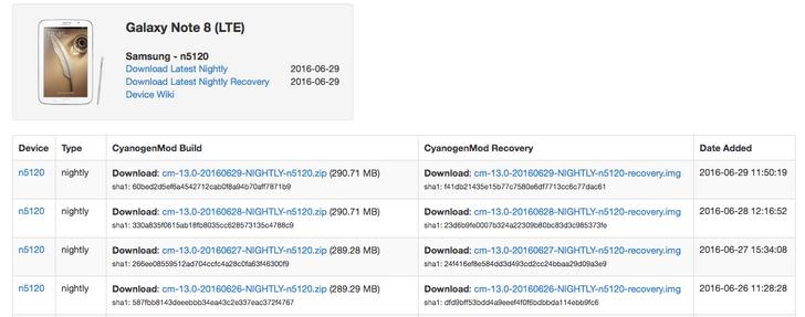 CyanogenMod 13 nightlies land for Samsung Galaxy Note 8 and Galaxy Tab S2 9.7