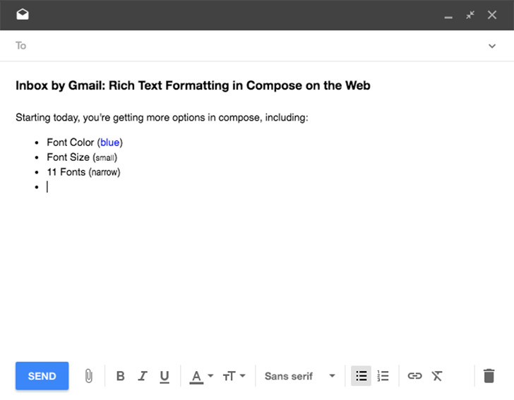 Inbox On the Web Finally Gets Support For Rich Text Formatting