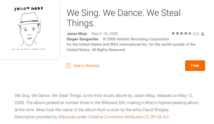 [Deal Alert] Jason Mraz's album 'We Sing. We Dance. We Steal Things.' free on GPM (likely US only)