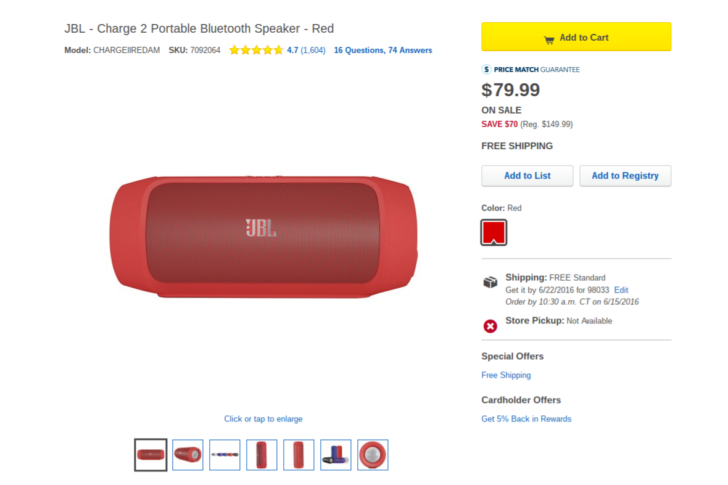 [Deal Alert] Red JBL Charge 2 Bluetooth speaker marked down to $80 at Best Buy ($30-50 less than elsewhere)
