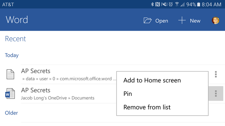 Latest Android update for Microsoft Word, PowerPoint, and Excel brings IRM support, home screen shortcuts to files, and Word can now open TXT files