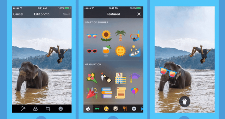 Twitter adds stickers to pictures, presumably because Facebook has them