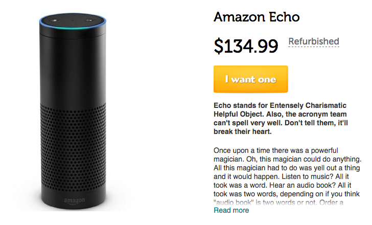 [Alexa, buy me a cheap Echo] Refurbished Amazon Echo on Woot for $135 with $5 shipping
