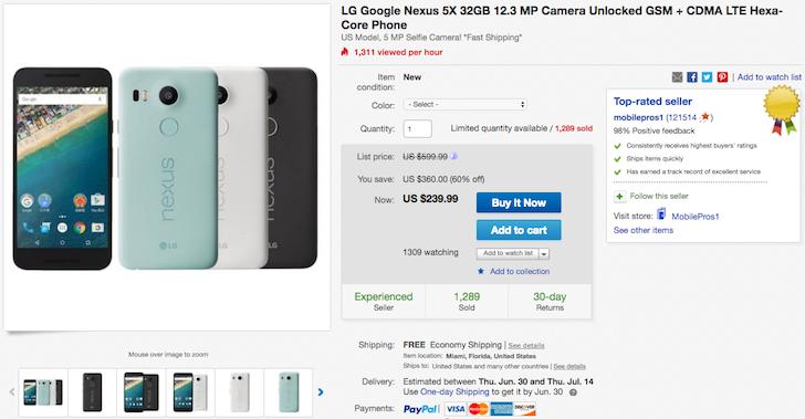 [Update: Deal back] Deal Alert: Grab a new unlocked Nexus 5X 32GB for $239.99
