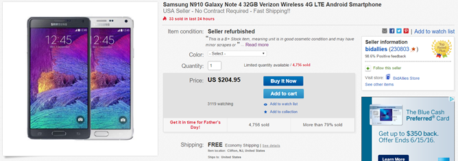 [Deal Alert] eBay Has A Refurbished Verizon Galaxy Note 4 For Just $205 With Free US Shipping