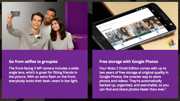 The Moto Z Droid Edition Comes With 2 Years Of Free Original Quality Google Photos Storage