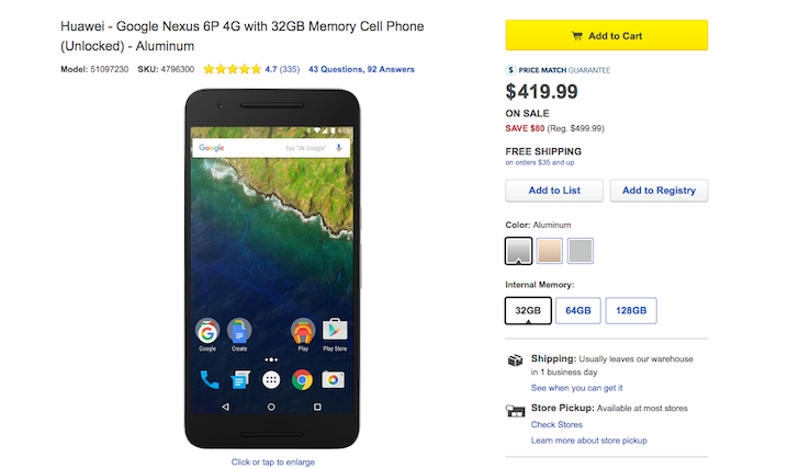 [Update: More Stores, Better Deals] Best Buy Is Taking $80 Off All Nexus 6P Variants: 32GB For $420, 64GB For $470, And 128GB For $570