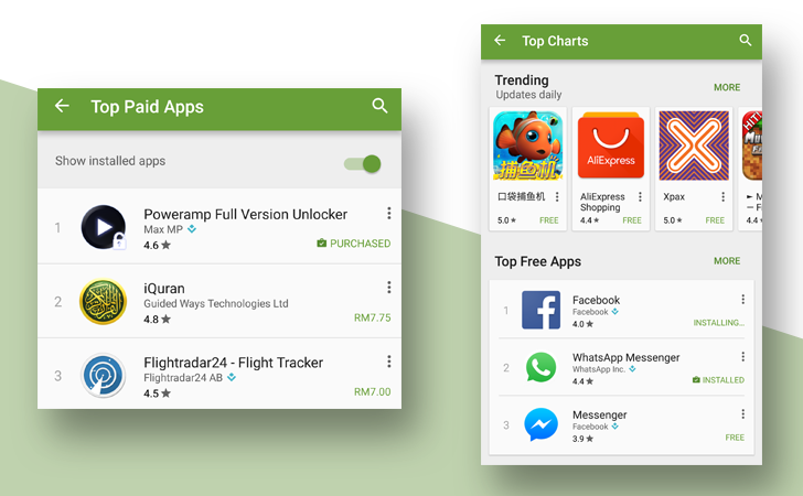 """[Update: Available to all] Google May Be Rolling Out A """"Show Installed Apps"""" Toggle In Play Store As Part Of New """"Top Charts"""" Layout"""