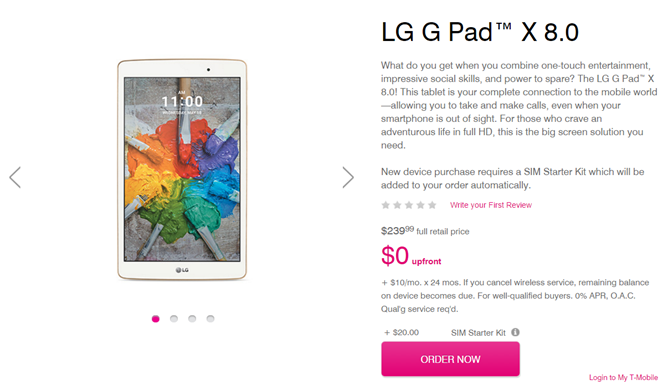 T-Mobile Announces A Carrier Version Of The LG G Pad X 8 0 Tablet
