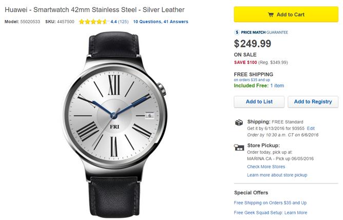[Deal Alert] Best Buy Offers $100-$150 Off The Huawei Watch, As Low As $250