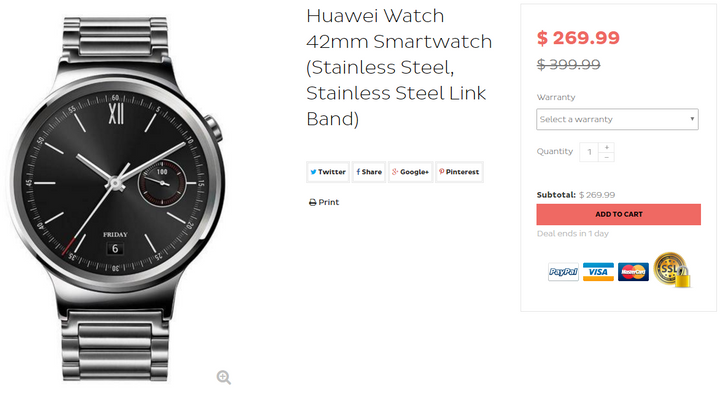 [Deal Alert] Huawei Watch with stainless steel link band on sale for $269.99 ($130 off MSRP) via Daily Steals