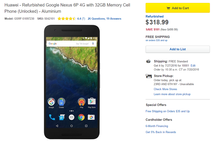 [Deal Alert] Refurbished Nexus 6P on sale for $318.99 at Best Buy