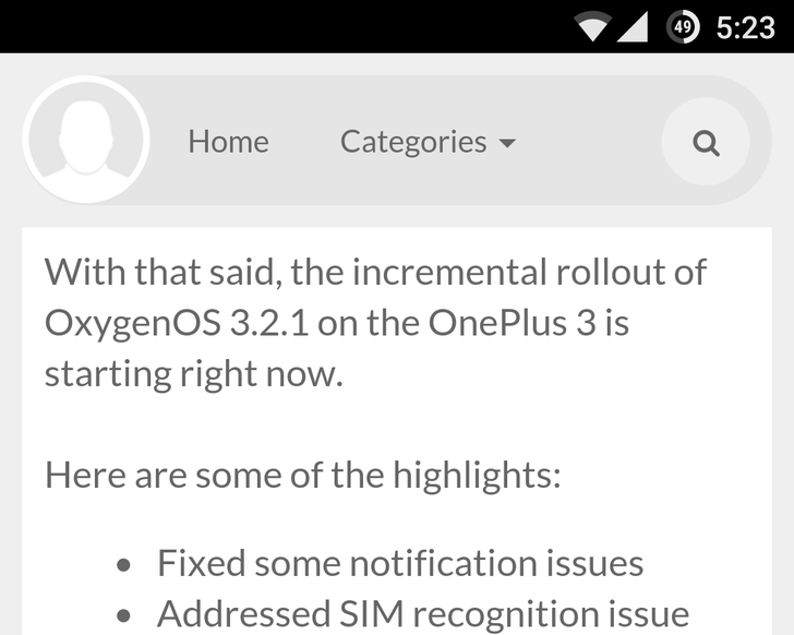 OxygenOS 3.2.1 update begins rolling out to the OnePlus 3