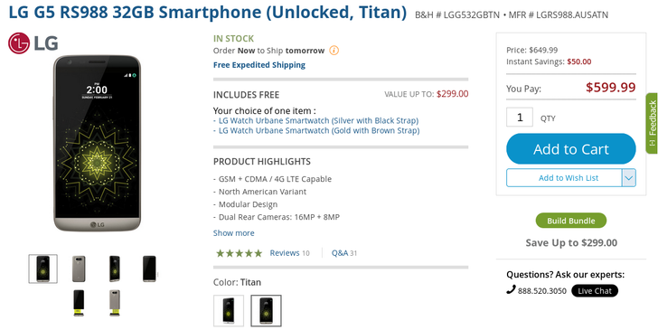 [Deal Alert] B&H is offering the LG G5 with a free Watch Urbane or VR headset for $350 off