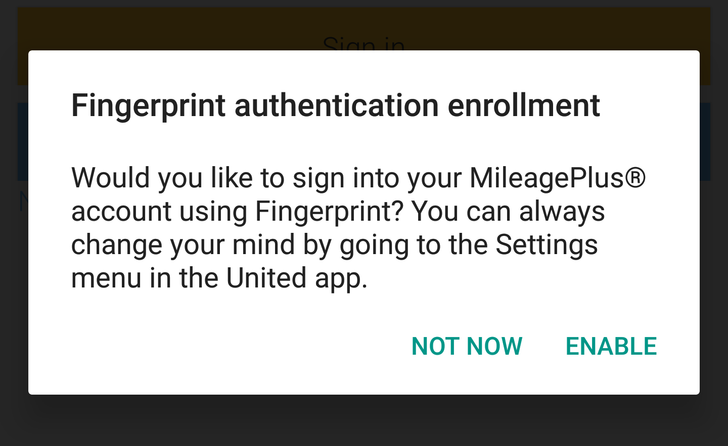 United Airlines updates Android app with fingerprint authentication