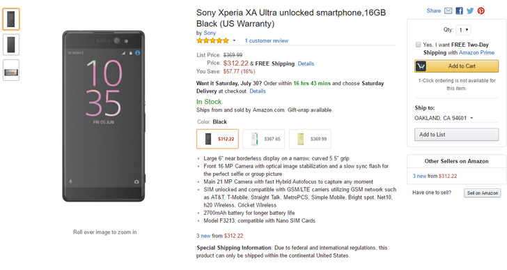 [Deal Alert] Sony Xperia XA Ultra on sale for $312.22 (almost $60 off) via Amazon