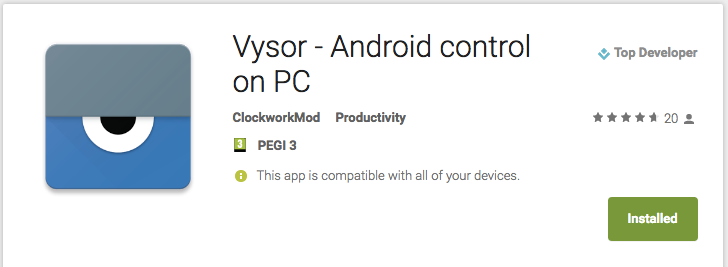Koush publishes Vysor to the Play Store, still available through Chrome app