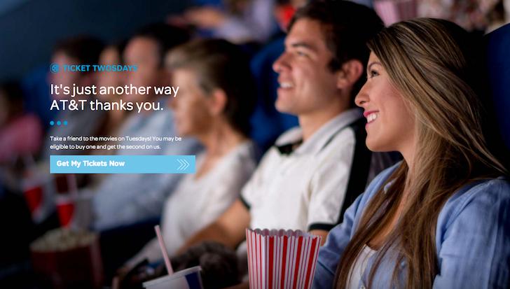 att buy one movie ticket get one free