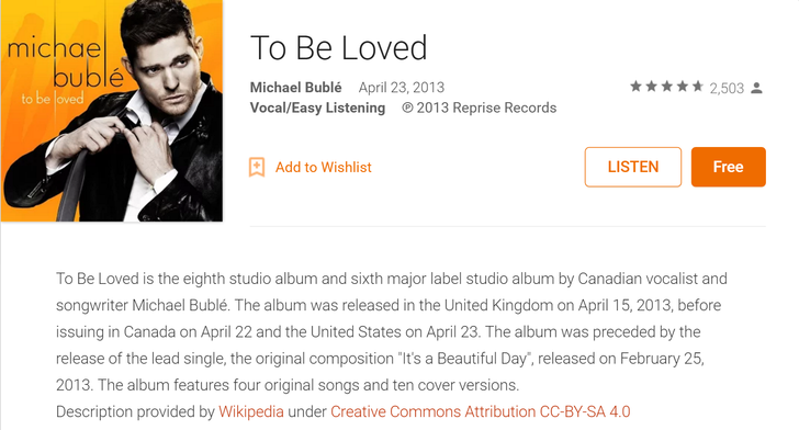 [Deal alert] Free album by Michael Bublé available today on Google Play (probably only USA)