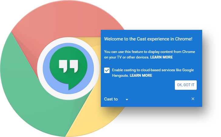 Looks like you'll soon be able to cast Chrome tabs to Hangouts (and possibly more)