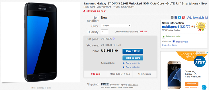 [Deal Alert] The Galaxy S7 Duos is on sale for just $490 on eBay ($210 off retail)